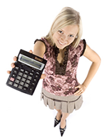 Girl holding a calculator